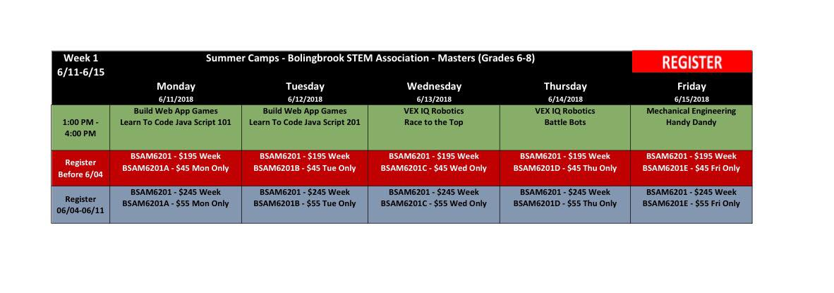 BSA Summer Camp Week 1 Masters (Grades 6-8) @ Bolingbrook Community Center