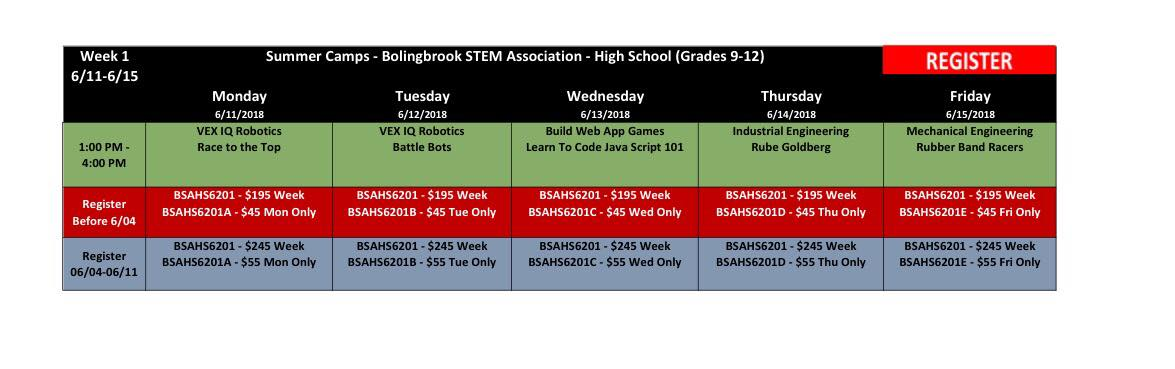 BSA Summer Camp Week 1 High School (Grades 9-12) @ Bolingbrook Community Center