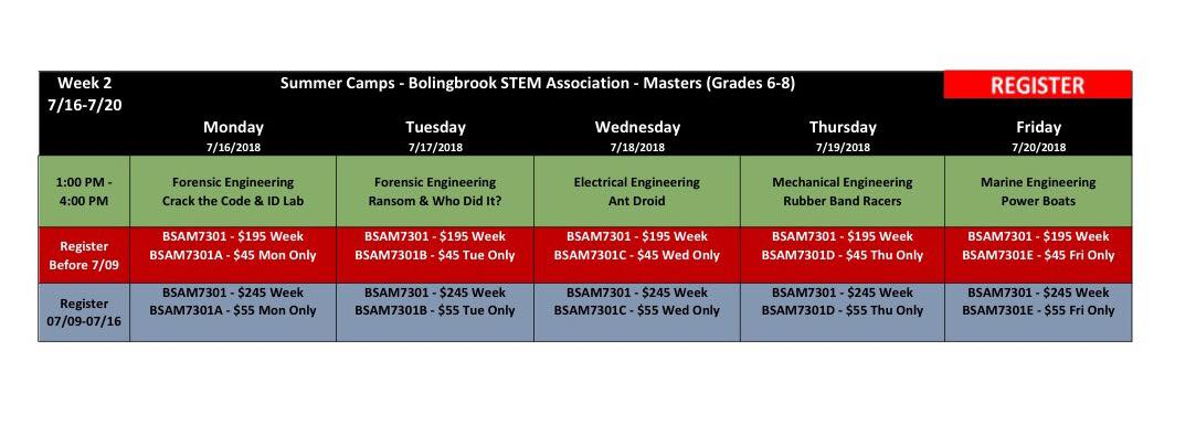 BSA Summer Camp Week 2 Masters (Grades 6-8) @ Bolingbrook Community Center