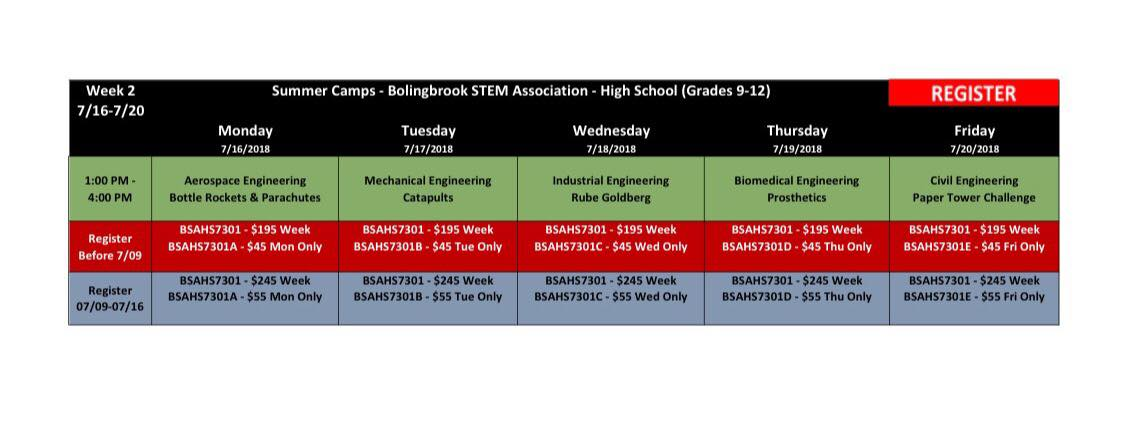 BSA Summer Camp Week 2 High School (Grades 9-12) @ Bolingbrook Community Center